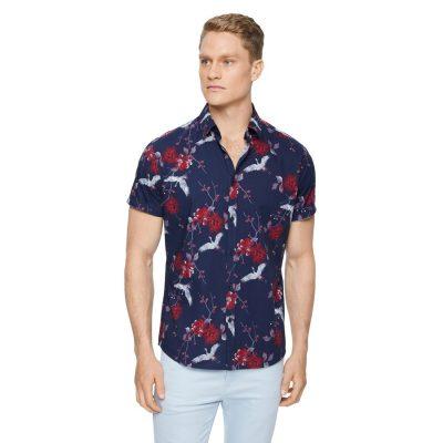 Fashion 4 Men - Tarocash Lopez Stretch Print Shirt Midnight Xl