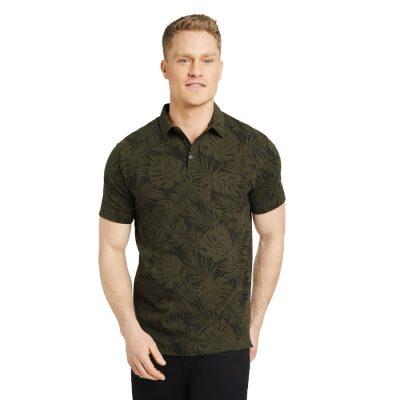 Fashion 4 Men - Tarocash Luke Stretch Palm Print Polo Khaki Xxl