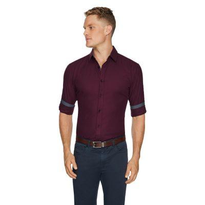 Fashion 4 Men - Tarocash Luther Slim Textured Shrt Burgundy L