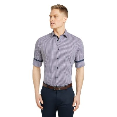 Fashion 4 Men - Tarocash Mcquade Stretch Check Shirt Navy 5 Xl