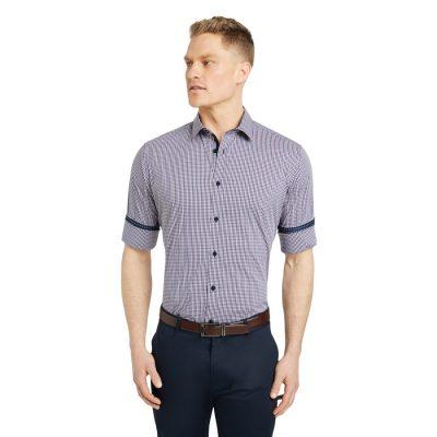 Fashion 4 Men - Tarocash Mcquade Stretch Check Shirt Navy Xl