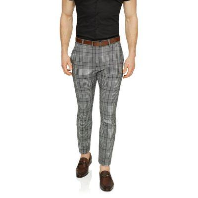 Fashion 4 Men - Tarocash Moss Slim Check Pant Charcoal 33