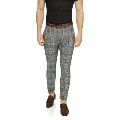 Fashion 4 Men - Tarocash Moss Slim Check Pant Charcoal 34