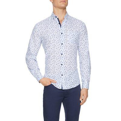 Fashion 4 Men - Tarocash Oliver Linen Blend Print Shirt White Xs
