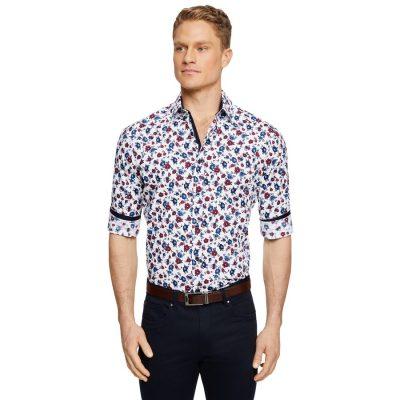Fashion 4 Men - Tarocash Orbison Stretch Floral Print Shirt White Xxxl