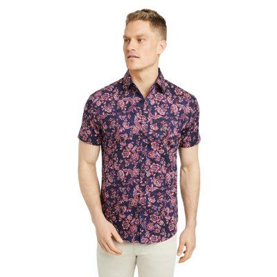 Fashion 4 Men - Tarocash Oslow Floral Print Shirt Navy S