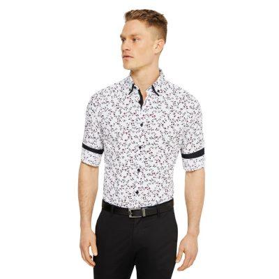 Fashion 4 Men - Tarocash Oxley Slim Floral Print Shirt White Xxl