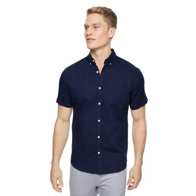 Fashion 4 Men - Tarocash Peterson Linen Shirt Midnight 5 Xl