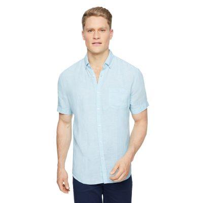 Fashion 4 Men - Tarocash Robbie Pure Linen Shirt Aqua S
