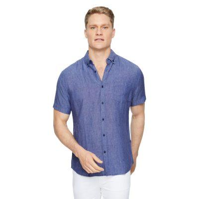 Fashion 4 Men - Tarocash Robbie Pure Linen Shirt Blue S