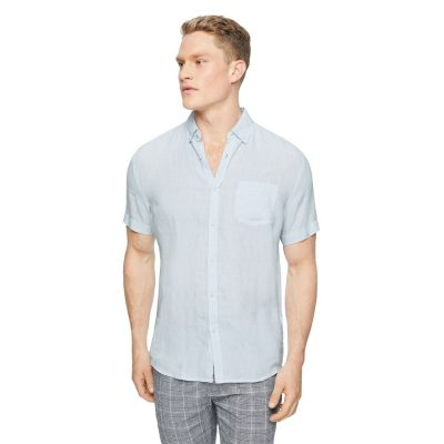 Fashion 4 Men - Tarocash Robbie Pure Linen Shirt Ice Blue S