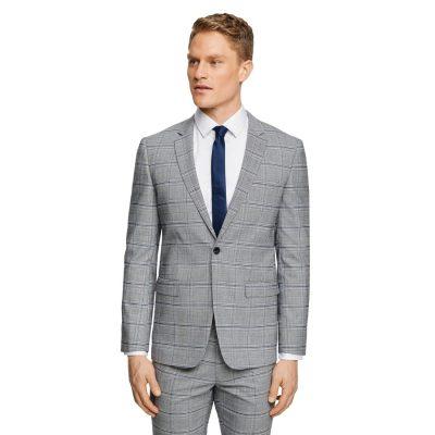 Fashion 4 Men - Tarocash Robertson Slim Check Suit Jacket Grey 46