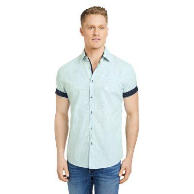 Fashion 4 Men - Tarocash Roscoe Print Shirt Aqua S
