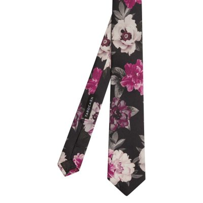 Fashion 4 Men - Tarocash Thackeray Silk Floral Tie Black 1