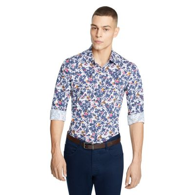 Fashion 4 Men - yd. Angelo Print Slim Shirt Dark Blue S