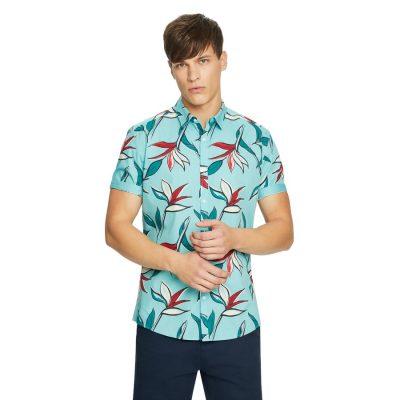 Fashion 4 Men - yd. Attick Floral Shirt Soft Mint M