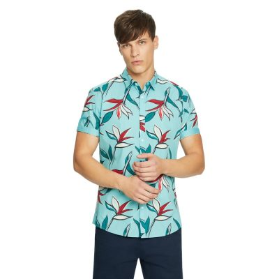 Fashion 4 Men - yd. Attick Floral Shirt Soft Mint Xl