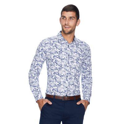 Fashion 4 Men - yd. Basingstoke Floral Slim Shirt Dark Blue M
