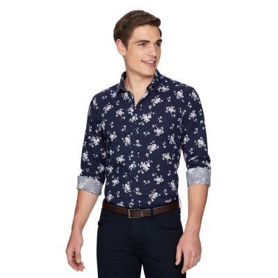 Fashion 4 Men - yd. Bermondsey Floral Linen Shirt Dark Blue S