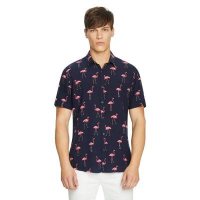 Fashion 4 Men - yd. Cade Flamingo Shirt Navy Xs