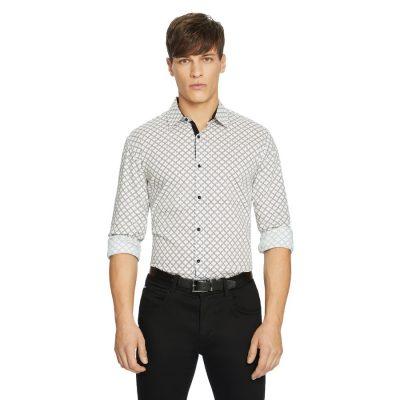 Fashion 4 Men - yd. Chain Link Slim Shirt White 2 Xs