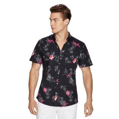 Fashion 4 Men - yd. Event Floral Shirt Black Xs