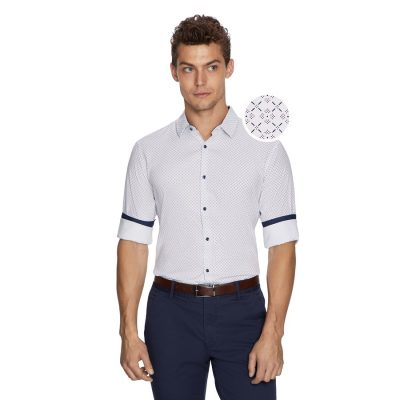 Fashion 4 Men - yd. Jerry Geo Shirt White M