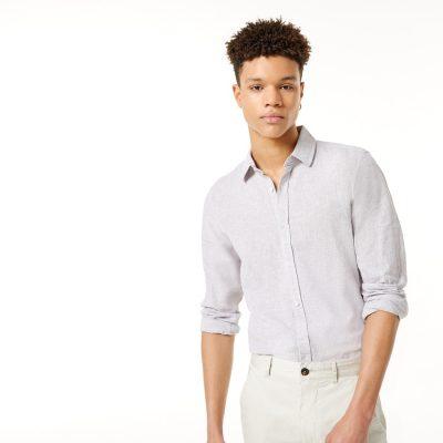 Fashion 4 Men - yd. Lennox Linen Shirt Natural L