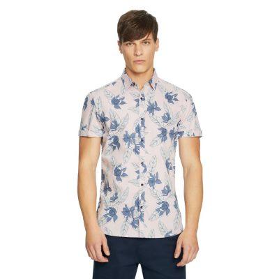 Fashion 4 Men - yd. Levvi Print Shirt Pink Xxxl