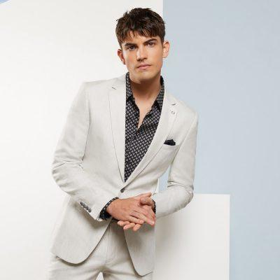 Fashion 4 Men - yd. Luis Linen Slim Suit Jacket Natural 36