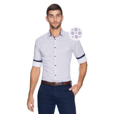 Fashion 4 Men - yd. Manuel Tile Slim Shirt Multi Xxl
