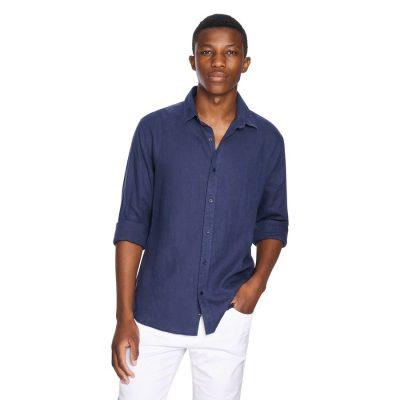 Fashion 4 Men - yd. New England Linen Shirt Dark Blue Xs