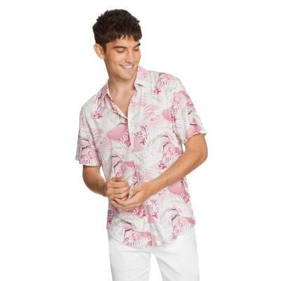 Fashion 4 Men - yd. Phoenix Bird Print Shirt Pink Xl