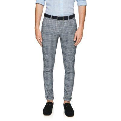 Fashion 4 Men - yd. Pow Check Skinny Chinos Dark Blue 42