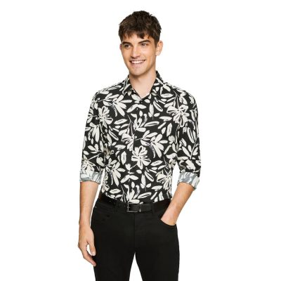 Fashion 4 Men - yd. Rake Abstract Slim Shirt Black L