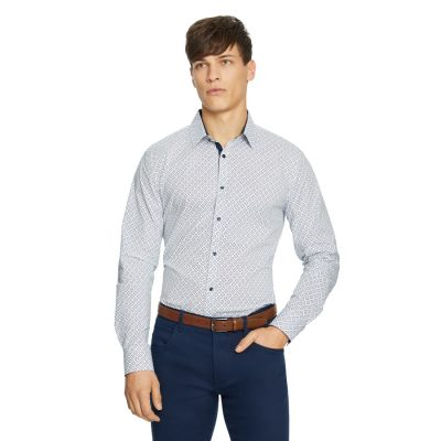 Fashion 4 Men - yd. Rule Slim Shirt Blue Print L
