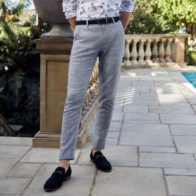 Fashion 4 Men - yd. Swagger Check Skinny Chino Blue Check 33