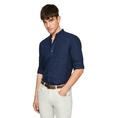 Fashion 4 Men - yd. Vincenzo Linen Shirt Dark Blue M