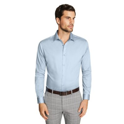 Fashion 4 Men - Tarocash Bahamas Slim Stretch Shirt Light Blue 5 Xl