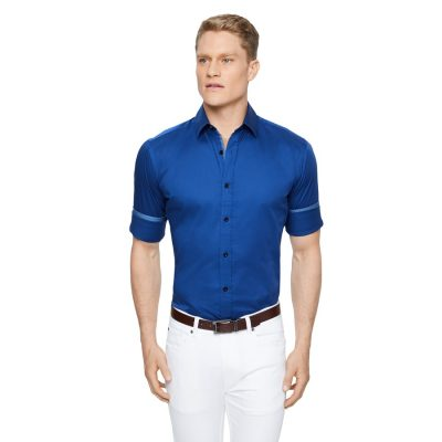 Fashion 4 Men - Tarocash Bayview Slim Stretch Shirt Cobalt L