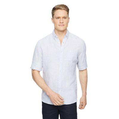 Fashion 4 Men - Tarocash Billy Pure Linen Shirt Silver Xs