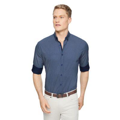 Fashion 4 Men - Tarocash Knight Print Shirt Navy Xs