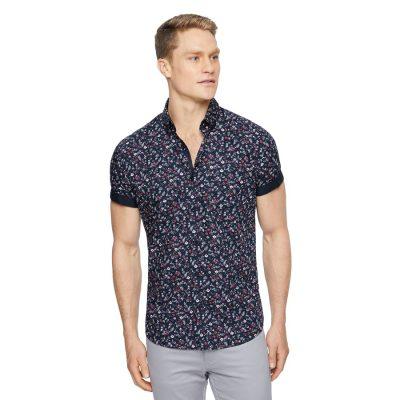 Fashion 4 Men - Tarocash Libertine Floral Print Shirt Midnight S