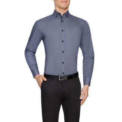 Fashion 4 Men - Tarocash Maxwell Geo Print Shirt Charcoal Xxxl