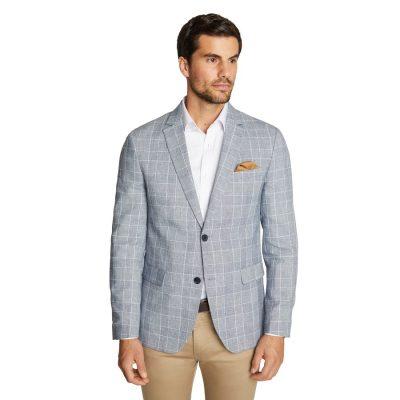Fashion 4 Men - Tarocash Prato Check Linen Blazer Blue Xl