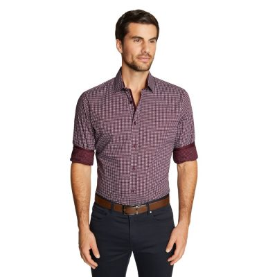 Fashion 4 Men - Tarocash Rixx Print Shirt Burgundy Xl