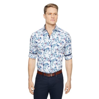 Fashion 4 Men - Tarocash Roland Slim Floral Print Shirt White L