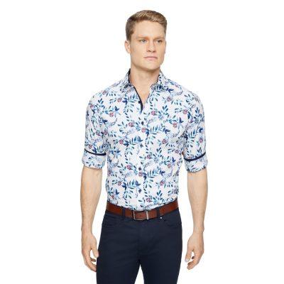 Fashion 4 Men - Tarocash Roland Slim Floral Print Shirt White Xs