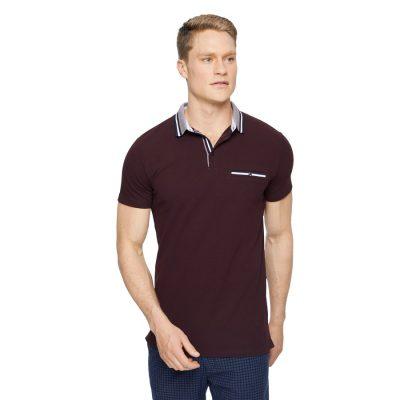 Fashion 4 Men - Tarocash Roman Stretch Muscle Polo Burgundy M
