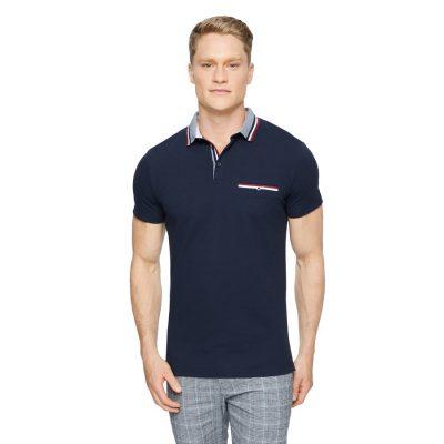 Fashion 4 Men - Tarocash Roman Stretch Muscle Polo Navy L